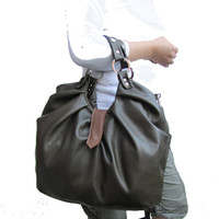 Olive Green Leather Satchel - 3 Way Work Bag - Carry On Backpack