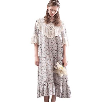 Sleepwear Women Vintage Dress Long Nightgown Sleepshirt  Sweet Princess Nightshirt Home Clothing For Bed Free Shipping