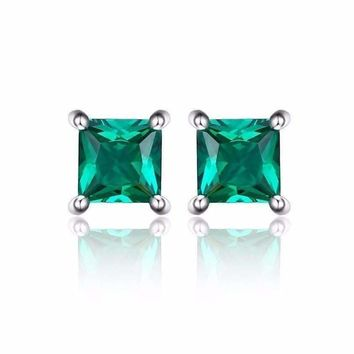 Royal Green Princess Cut 0.6 CT Simulated Emerald Stud Earrings