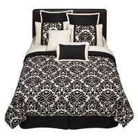 Home 8-pc. Bed Set - Flocked Floral Black/Cream