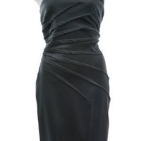 Tadashi Shoji Black Jersey Ruched One Shoulder Cocktail Dress