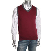 Club Room Mens Ribbed Knit V-Neck Sweater Vest