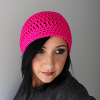 Neon Pink Slouchy Beanie Hat, Crochet Slouchy Beret Hat, EDM Fashion Accessories