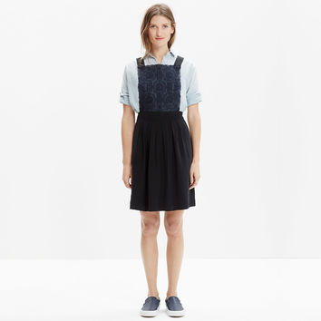 SILK EMBROIDERED PINAFORE DRESS