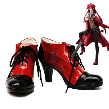 Anime Black Butler Grell Sutcliff Cosplay Party Shoes Black and Red Boots Customized Size