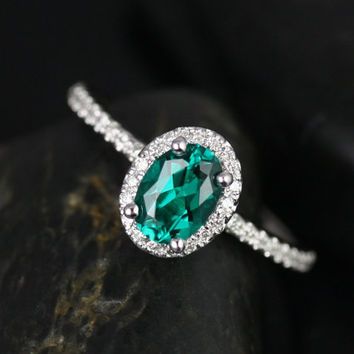 Ultra Petite Federella 14kt White Gold Oval Emerald and Diamonds Halo Engagement Ring (Other metals and stone options available)