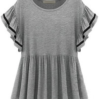 Grey Ruffle Sleeve Pleated Loose Fitting Mini Dress