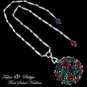 KTF Trifari Fruit Salad Necklace Vintage Art Deco 1930s Alfred Philippe