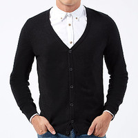 Black Basic V Neck Cardigan