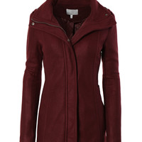 LE3NO Womens Fleece Military Pea Coat Jacket with Pockets