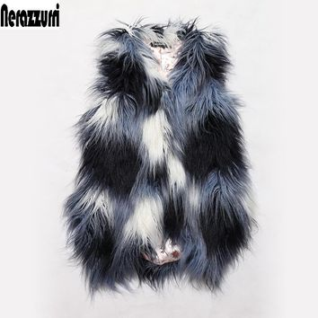 Nerazzurri Brand 2017 Winter Fashion Faux Fur Vest Women Gradual Color Slim Furry Shaggy Fake Fur Waistcoat Gilet High quality