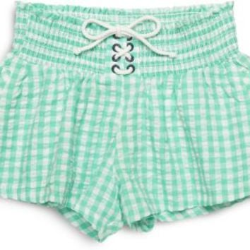 Sperry Top-Sider Gingham Shorts SeafoamGreen, Size L  Women's