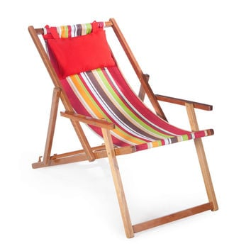 Caribbean Stripe Beach Chair Lounger with Weather-Resistant Hardwood Frame