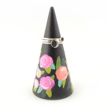 Hand Painted Coral Floral Ring Cone