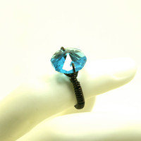 Dark Wire Wrapped Ring (Smoky Quartz) with Aqua Blue Glass Faceted Chandelier Prism Bead