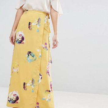 ASOS Wrap Maxi Skirt in Floral Print at asos.com