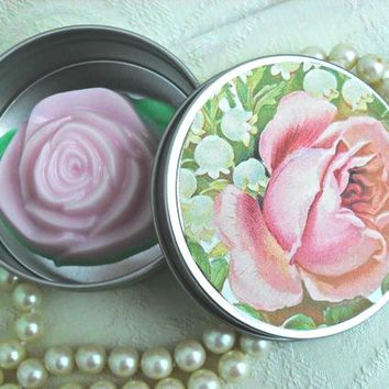 Pink Rose Soap Favor in Gift Box