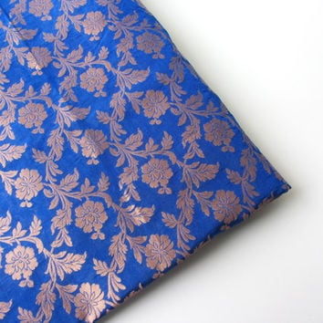 kobalt blue golden branches India silk brocade fabric nr 193 fat quarter