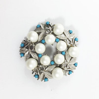 Sarah Coventry Floral Wreath Brooch Vintage 1960s Silver Tone Simulated Pearl Aqua Turquoise Bead Circle Pin Mother's Day Gift for Her