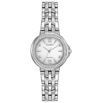 Citizen Womens Eco-Drive Diamond Watch - White Dial - Stainless Steel - Bracelet