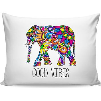 ROB Colorful Tribal Elephant Good Vibes Pillowcase