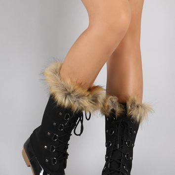 Faux Fur Cuff Lace Up Duck Mid Calf Boots