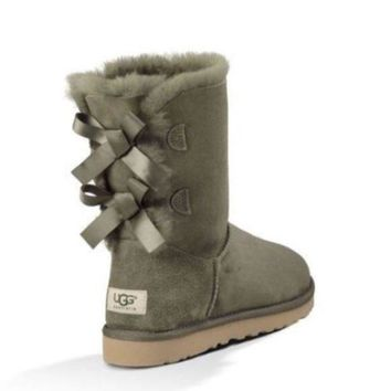 LMFUX5 UGG Bailey bow forest green boots
