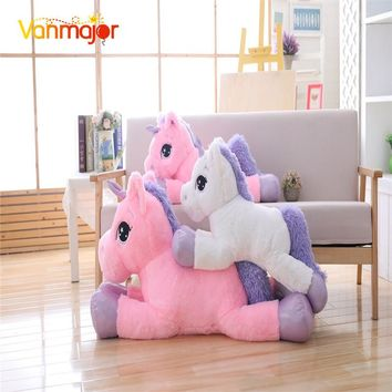 Vanmajor 80CM Unicorn Plush Toy Soft Stuffed Pony Cartoon Unicorn Dolls Animal Horse Toy High Quality Toys for Children Girls