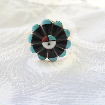 Zuni Sun Face Ring, Signed RJV Zuni Artisan, Vintage Native American Jewelry, Size 7.5
