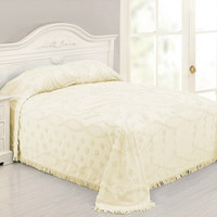 King size 100% Cotton Chenille Bedspread in Pale Yellow Ivory Damask