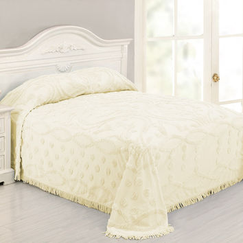 Queen size 100% Cotton Chenille Bedspread in Ivory Damask