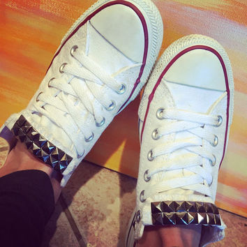 Custom Gunmetal Studded White Converse All Star Low Cuts-Chuck Taylors! ALL SIZES & COLORS!!!