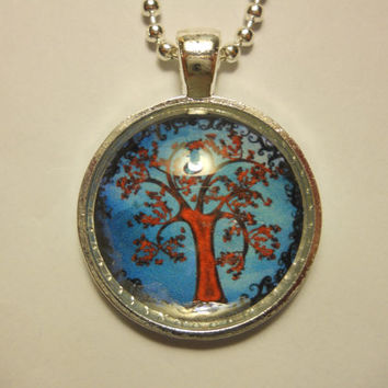 Colorful Swirly Tree Glass Tile Pendant