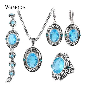 4Pcs/Lot Women Vintage Jewellery Sets Antique Silver Color Retro Pattern Fashion Blue Oval Ring Wedding Jewelry Crystal Gift