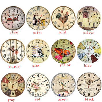 F85 Vintage Wooden Wall Clock Large Shabby Chic Rustic Kitchen Home Antique Style