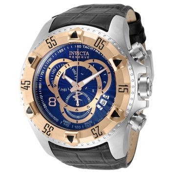 Invicta 11012 Men's Reserve Excursion Rose Gold Tone Bezel Blue Textured Dial Leather Strap Chronograph Dive Watch