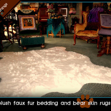 FAUX FUR FABRIC Bear Skin Rug Polar Bear Grizzly Bear Teddy Bear Taxidermy Faux Toss Rug Area Rug Skin Hide Pelt 5'x7'