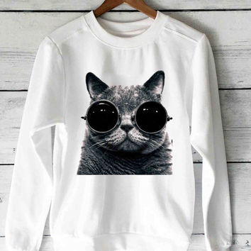 meow glasses sweater unisex adults