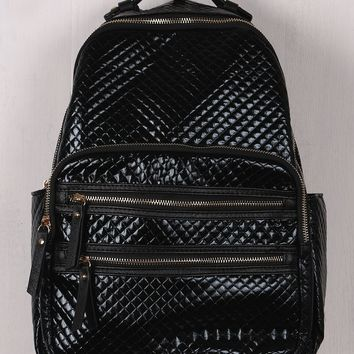 Shiny Faux Leather Metallic Quilted Backpack