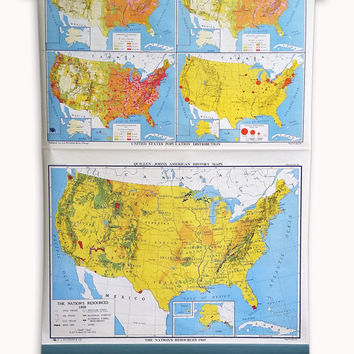 Vintage School Map, Pull Down Map; Large Industrial Wall Map of United States