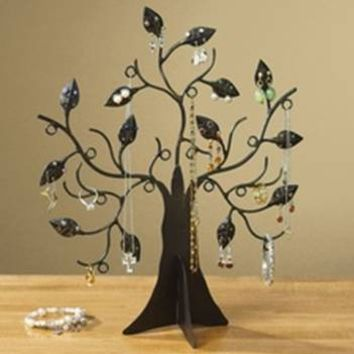 "Decorative 14 1/2"" Jewelry Tree Stand Organizer - Black By JUMBL"