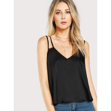 Double Strap Cami Top BLACK