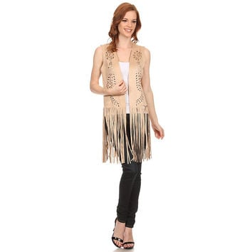 Womens Faux Suede Lightweight Sleeveless Poncho with Armholes and Fringe.