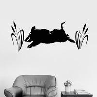 Vinyl Wall Decal Wild Boar Hunting Shop Hunter Stickers Murals Unique Gift (ig4670)