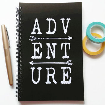 Writing journal, spiral notebook, sketchbook, bullet journal, black and white, blank lined or grid paper, arrows, diary, travel - Adventure