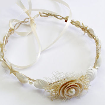 Seashell & starfish, beach wedding flower crown, mermaid hair accessories, pearl headband, bridal  headpiece, rustic flower crown, ocean