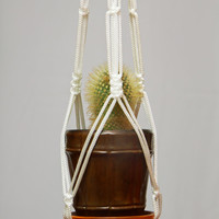 25 inches 5mm - Macrame Plant Holder - Hanging Planter - Thick White