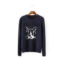 Navy Cat Letter Print Sweater