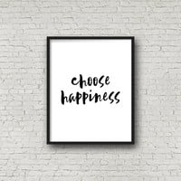 Choose Happiness, Typography, Typography Poster, Motivational Poster, Inspirational Wall Art, Wall Art Prints, Positive Quotes, Minimalist