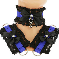 Kitten play collar and cuffs black blue, lolita, ddlg, bdsm collar, kittenplay, pastel gothic, goth kawaii, Pet play, puppy Princess C7
